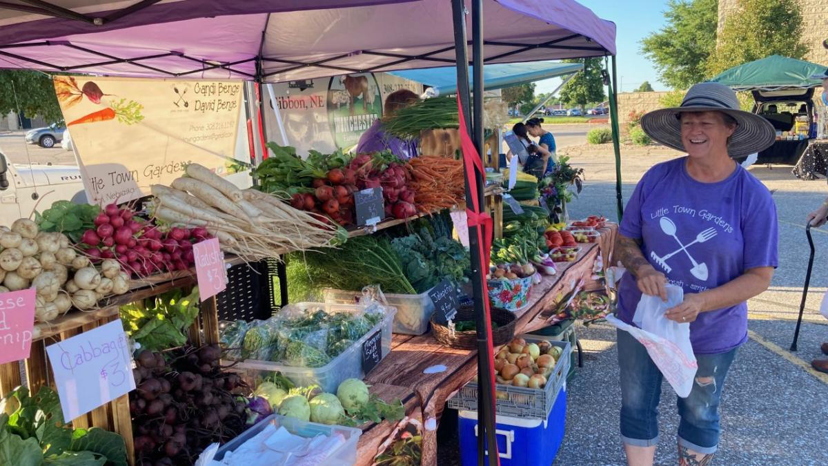 Woman shopping at farmers market booth.