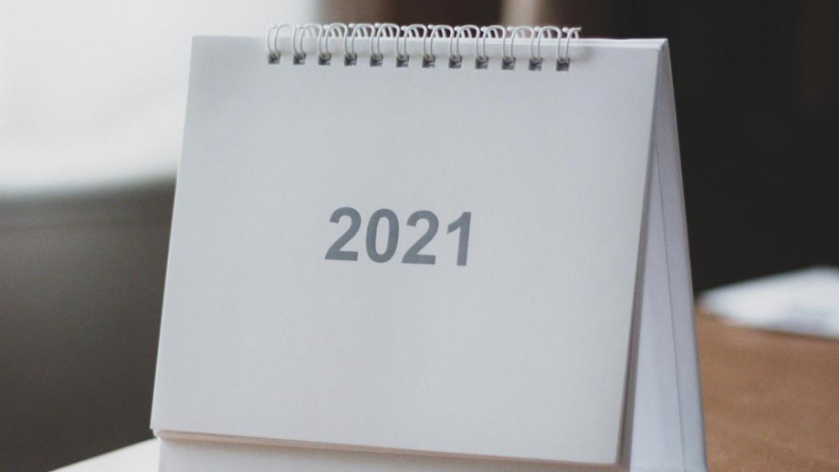 2021 calendar on desk.