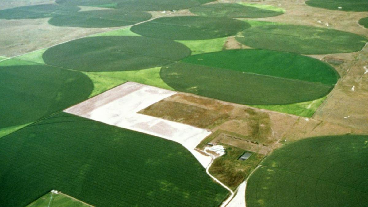 Aerial shot of center pivot irrigated farmland.