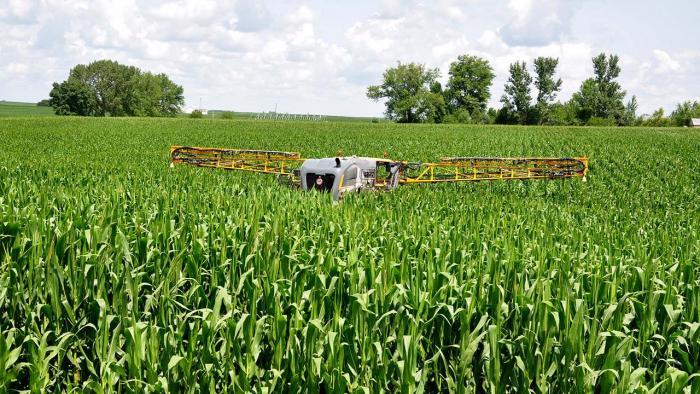Fertilizer application in corn field.