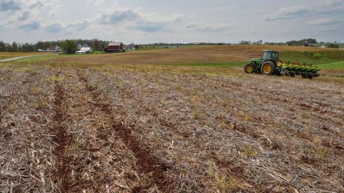 Planter in field.
