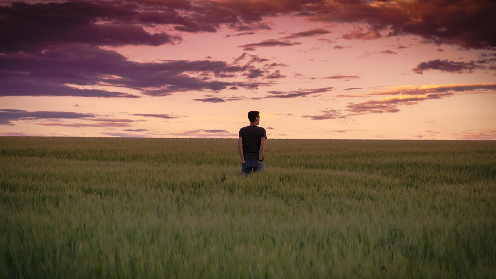 Man in field.