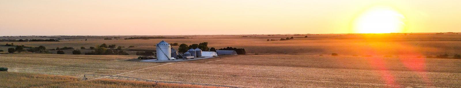 Nebraska Farm at twilight.